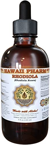 Rhodiola Liquid Extract, Organic Rhodiola Rhodiola Rosea Tincture, Herbal Supplement, Hawaii Pharm, Made in USA, 4 fl.oz