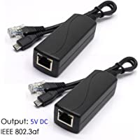 ANVISION 2-Pack Active 5V 2.4A PoE Splitter Adapter IEEE 802.3af Compliant Micro USB 48V to 5V/2.4A for Tablets, Dropcam or Raspberry Pi, IPC, IP Camera and more