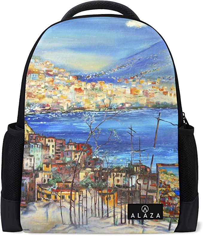 My Daily Italy Sea Coast Landscape Backpack 14 Inch Laptop Daypack Bookbag for Travel College School