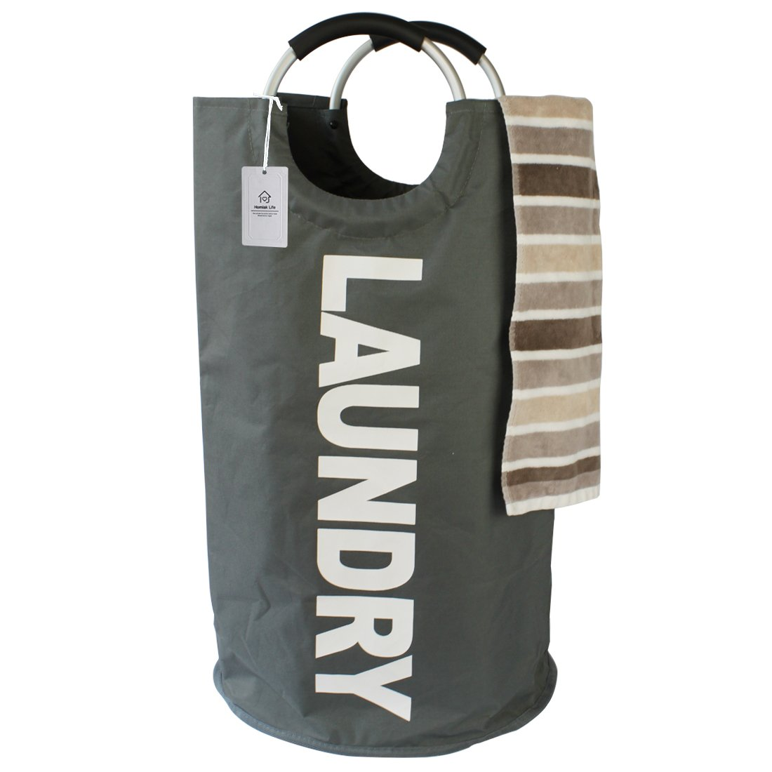 Thicken Laundry Bag with Alloy Handles for College, Camping and Home, Heavy Duty and Durable Canvas Utility, Shopping or Travel Bag, Collapsible and Self Standing as Laundry Basket (Dark Grey)