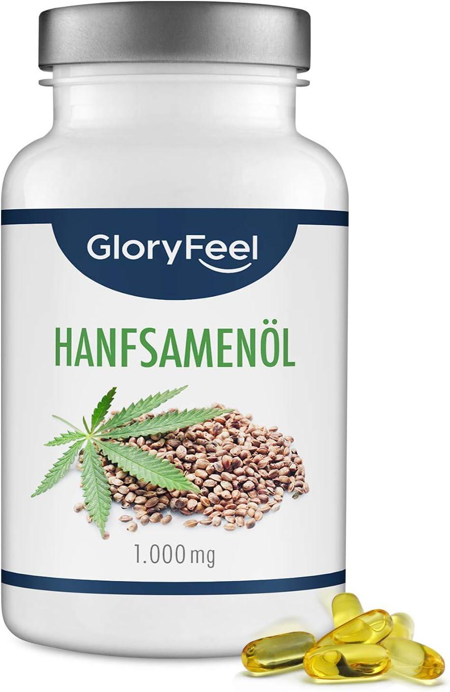 GloryFeel® Aceite de semillas de cáñamo 1000mg - 200 Cápsulas de gelatina blanda- Prensado al frío - 86% Ácidos grasos vegetales esenciales- Alta biodisponibilidad - Fabricado en Alemania