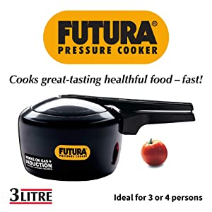 Futura Hawkins 3-Litre Hard Anodized Induction Compatible Pressure Cooker, Small, Black