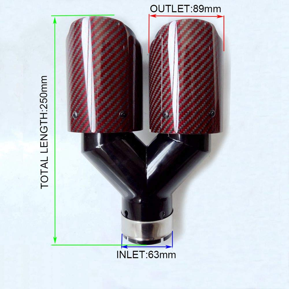 Inlet 63mm 2.5 Outlet 89mm SORMOR Red Twill Carbon Fiber Dual-outlet Y-style Muffler Pipes Exhaust Tips 3.5 Inlet 63mm Outlet 89mm with Black Stainless Steel