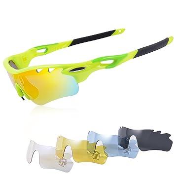 Gafas Ciclismo Polarizadas con 5 Lentes Intercambiables Gafas de Sol Deportivas Antivaho Antireflejo Anti Viento y