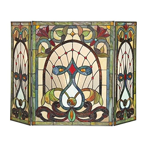 Glass Butterfly Stained Screen Fireplace - Victorian Tiffany Style Stained Glass Fireplace Screen