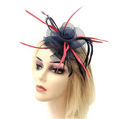Beautiful Navy Blue and Red Rosette Fascinator on Flexible Headband with  Feathers Hatinator d56582b56a6