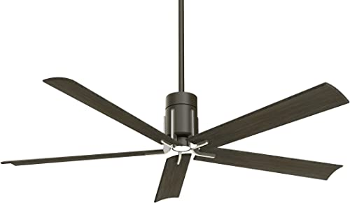 Minka Aire F684L-MBK BN Clean – 60 Inch Ceiling Fan with Light Kit, Matte Black Brushed Nickel Finish with Urban Walnut Blade Finish with White Glass