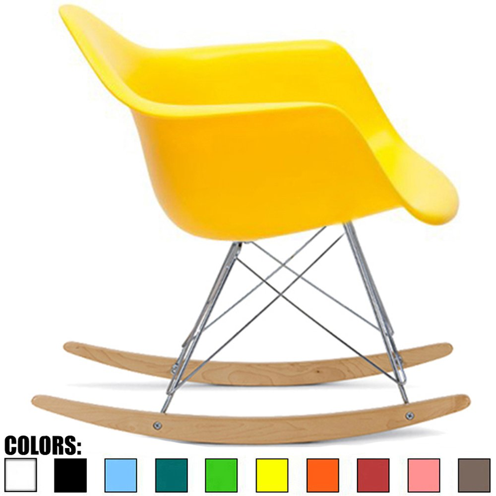 2xhome Eames Style Molded Modern Plastic Armchair - Contemporary Accent Retro Rocker Chrome Steel Eiffel Base - Ash Wood Rockers - Rocking Mid Century Style Lounge Arm Chair Matte Finish (Yellow)