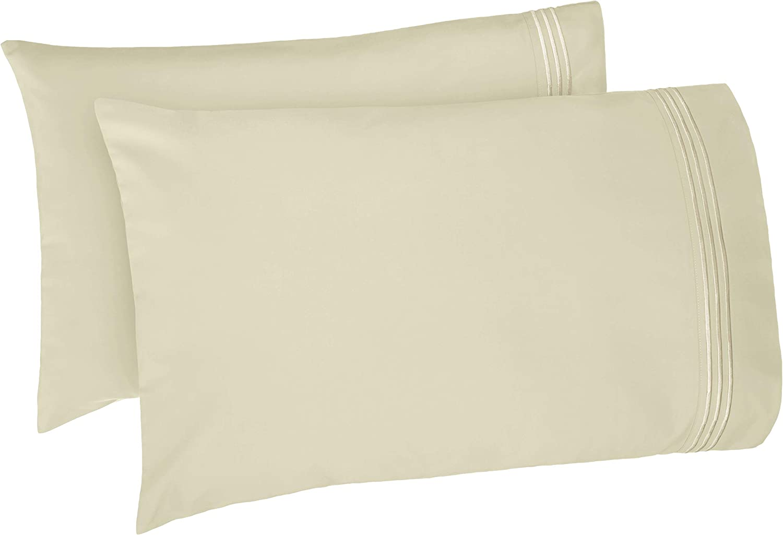 AmazonBasics Premium, Easy-Wash Embroidered Hotel Stitch Pillowcase Set - Standard, Aloe Green