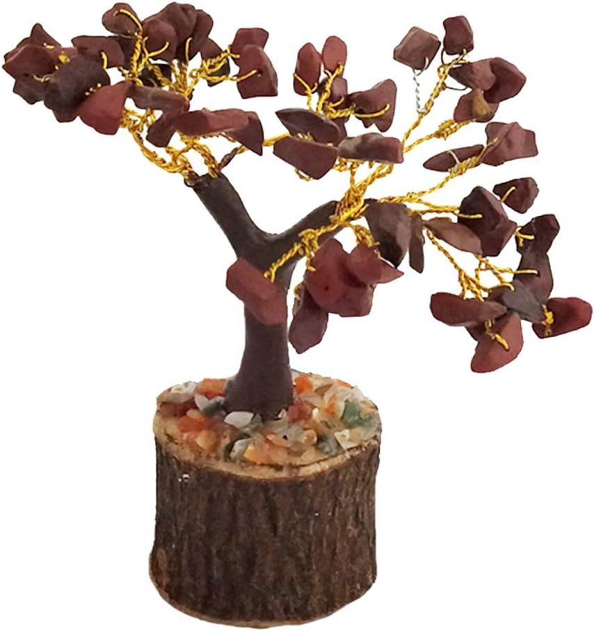 Divya Mantra Feng Shui Natural Orange Chakra Healing Gem Stone Bonsai Fortune Vastu Plant Sculpture Tree; Good Luck, Wealth, Success & Prosperity; Home Office Table Decor Gift Item; 50 Crystals