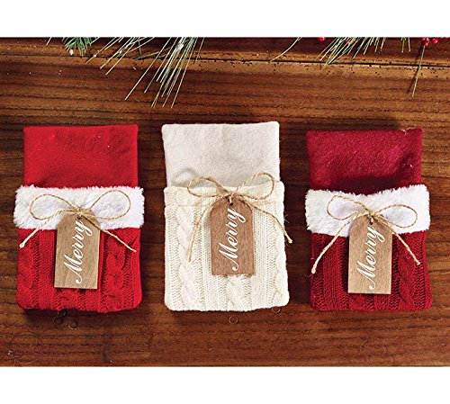 (Burton and Burton Sweater Pocket Merry Silverware Place Setting Holders, Set of 6)