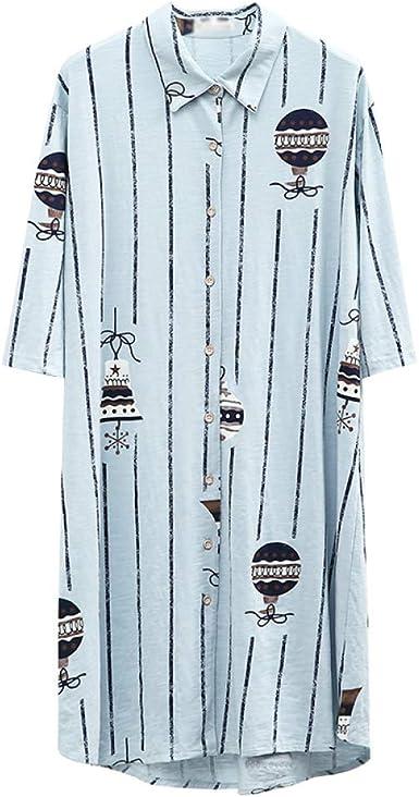Algodón De Las Mujeres Cómodo Pijamas Camisas Estampado De Rayas Pijama De Manga Corta Camisa del Sueño Damas Casual Camisón De Dormir Camisón con Botones Camisón: Amazon.es: Ropa y accesorios