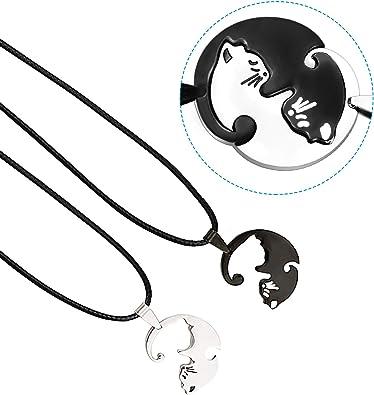 2Pcs en Acier Inoxydable Couple Chat CALIN Amour Coeur Collier Pendentif Fashion Jewelry