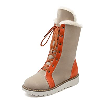 Women's Frosted Lace-Up Closed Round Toe Low-Heels Low-Top Boots