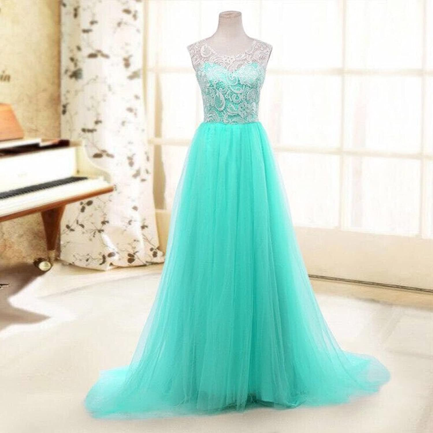 Women\'s Hollow out Lace Top Tulle Skirt Prom Gown Evening Maxi ...