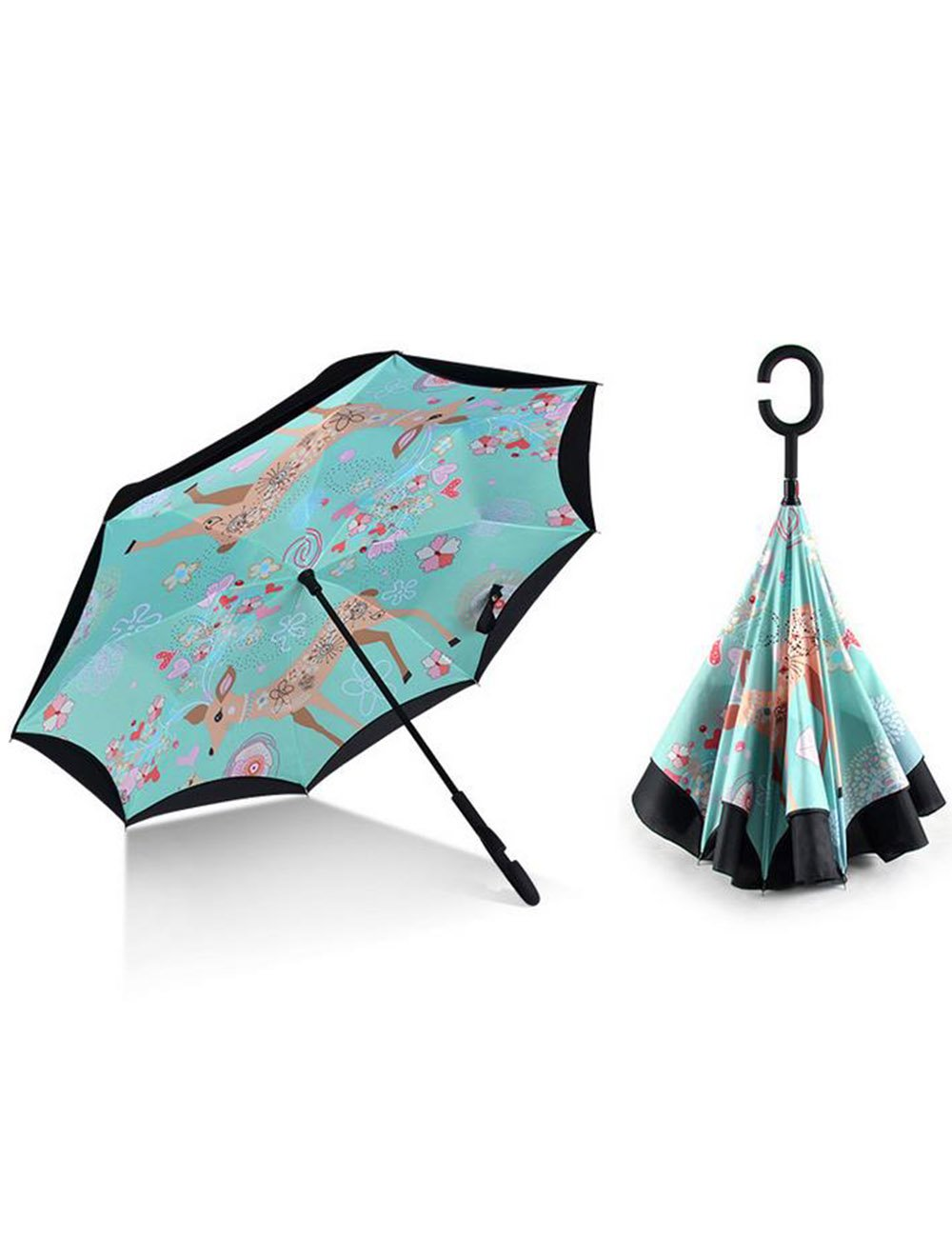 Haosen-six Creative Happy Elk Double Layer Windproof Rain Sun C Shape Handle Reverse Stick Umbrella For Car Outdoor Use