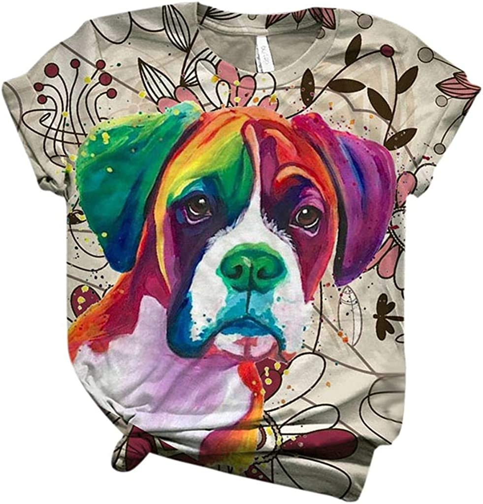 POINWER Camiseta para mujer con impresión 3D de animales, camiseta de manga corta, cuello redondo, camisetas para verano multicolor XL: Amazon.es: Ropa y accesorios