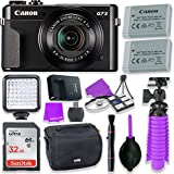 Canon PowerShot G7 X Mark II Camera w/1 Inch Sensor & tilt LCD screen - Wi-Fi & NFC Enabled (Black) & LED Video Light, 32GB Sandisk Memory Card, Extra Battery + Accessory Bundle