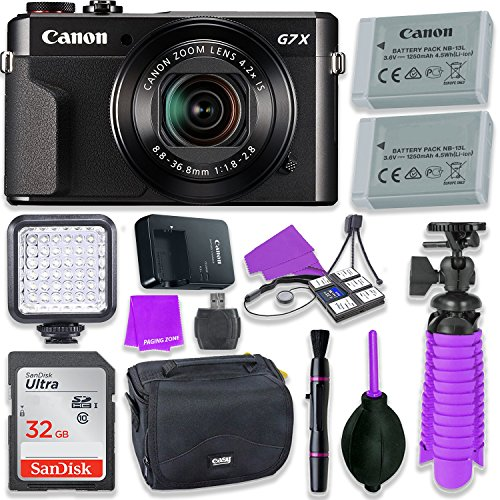 Canon PowerShot G7 X Mark II Camera w/ 1 Inch Sensor & tilt LCD Screen - Wi-Fi & NFC Enabled (Black) & LED Video Light, 32GB Sandisk Memory Card, Extra Battery + Accessory Bundle