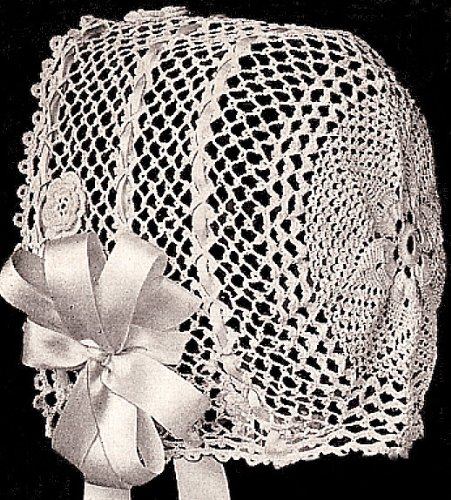 Vintage Crochet PATTERN to make - Antique Baby Hat Bonnet in Irish Crochet Rose. NOT a finished item. This is a pattern and/or instructions to make the item only.