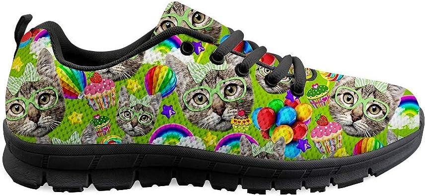 Gopumchy - Zapatillas de Running para Hombre, diseño de Cabeza de Gato, Color Verde, Suela Negra, Transpirables, para el Tiempo Libre, Correr, Fitness, Gimnasio, IR de Compras: Amazon.es: Zapatos y complementos