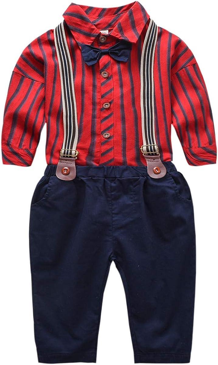 chennie Trajes de Caballero para niños Trajes de Camisa de Manga Larga con Pajarita + Conjunto de Ropa de pantalón de Tirantes: Amazon.es: Ropa y accesorios
