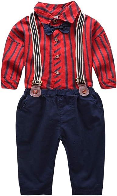 puseky Niños niños Caballeros Traje a Cuadros de Manga Larga Pajarita Camisa Tirantes Pantalones Conjunto de Trajes de niño: Amazon.es: Ropa y accesorios
