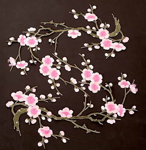 Two Asian Cherry Blossom Sakura Flower Iron on Embroidered Appliques Patch Embroidered Lace Fabric Ribbon Trim Neckline Collar Applique Patch Scrapbooking Embossed Decorated (Pink) (Jeans Pants Ribbon)