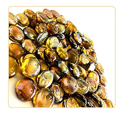 MagicWater Supply Gold Flat Marble Glass Gems - 2 LB (pound) - Flat Marble Vase Fillers, Table Scatter, Aquarium Décor, Pebbles - Approx. 3/4 diameter (2 bags)