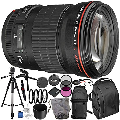 Canon EF 135mm f/2L USM Lens 16PC Accessory Bundle – Includes 3 Piece Filter Kit (UV + CPL + FLD + 4PC Macro Filter Set (+1,+2,+4,+10) + MORE by Canon