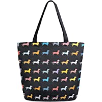 ALAZA Puppy Pug Dog Animal Dachshund Grocery Reusable Tote Bag Women Large Casual Handbag Shoulder Bags for Shopping…