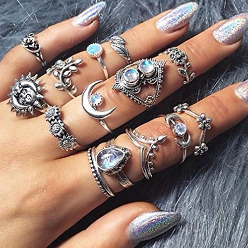 (14Pcs/Set Knuckle Ring Set for Women Girls, Clearance Sale! Iuhan Vintage Knuckle Ring Set Carved Sun Moon Flower Rhinestone Joint Knuckle Nail Midi Ring Set (Silver))