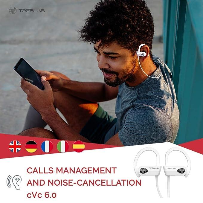 TREBLAB XR500 Auriculares con Bluetooth. Los Mejores Auriculares inalámbricos para Hacer Deporte IPX7 Impermeable, y a Prueba de Sudor.