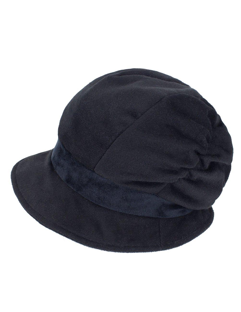 Dahlia Women's Wool Blend Newsboy Hat - Belt Spliced Slouch - Black