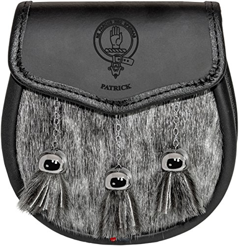 Patrick Semi Dress Sporran Fur Plain Leather Flap Scottish Clan Crest
