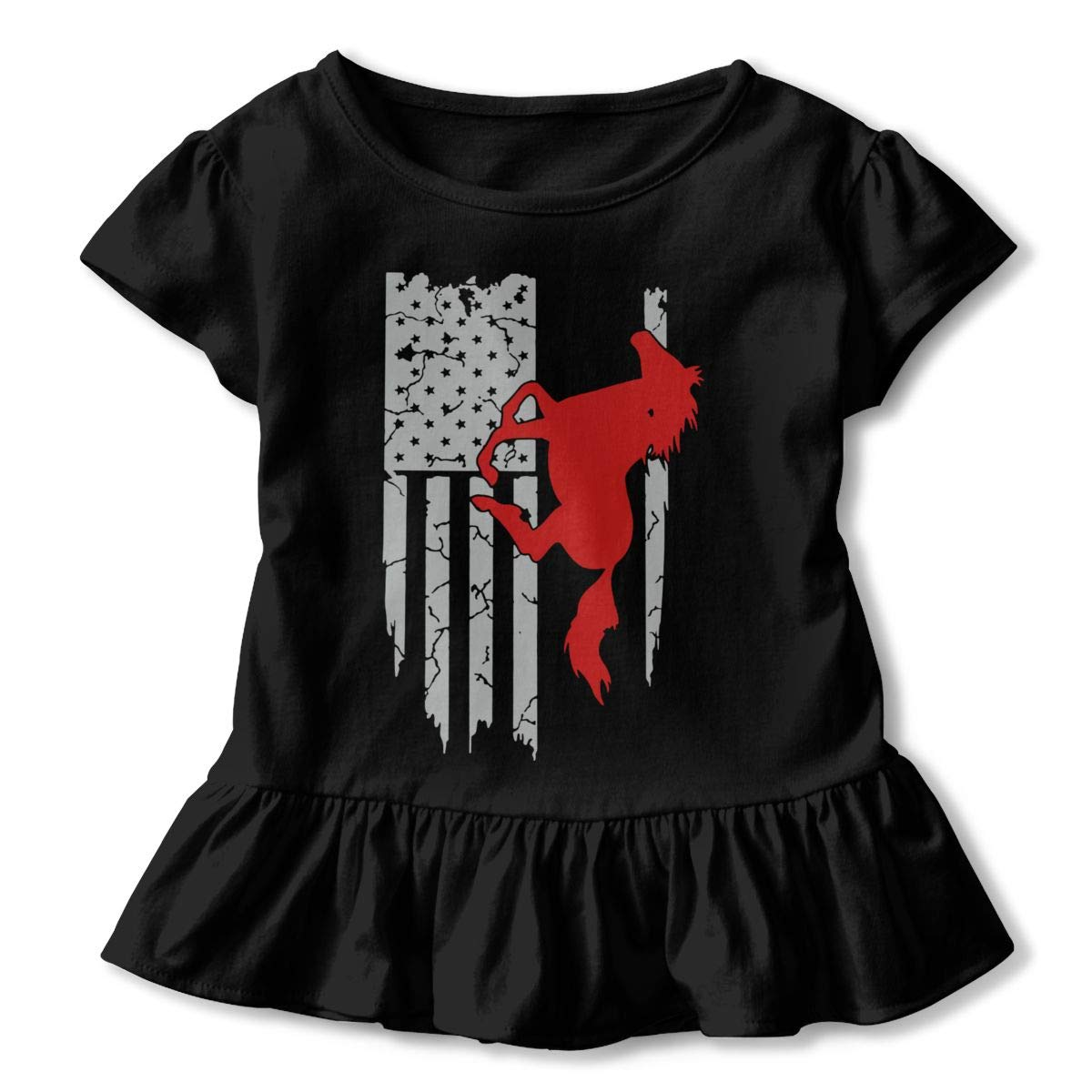 Horse American Flag Baby Girls Short Sleeve Ruffles T-Shirt Tops 2-Pack Cotton Tee
