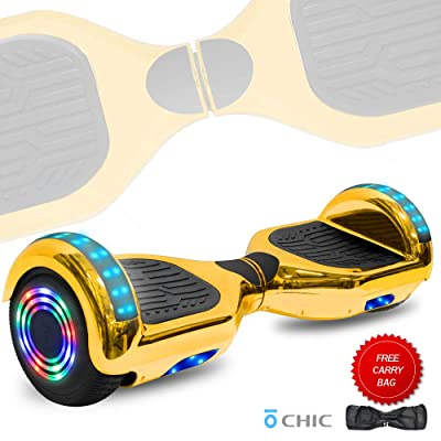 TechClic Chrome Self-Balancing Competitive Hoverboard LED Lights UL2272 Certified (Gold): Sports & Outdoors