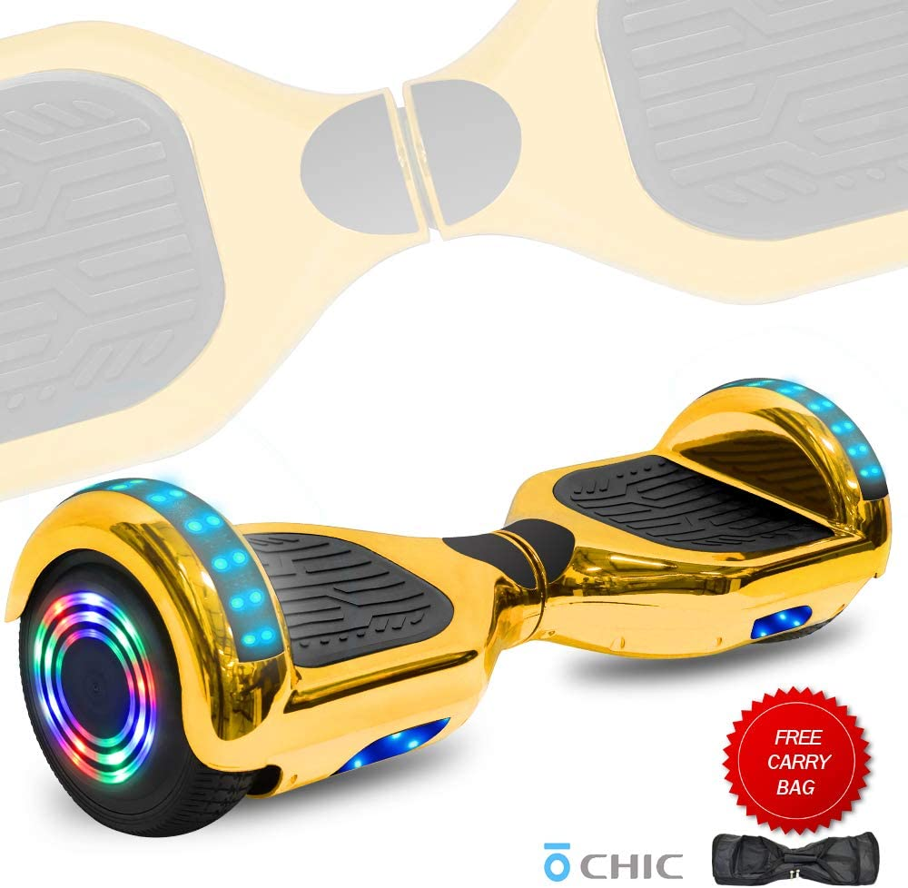 DOC Electric Hoverboard Self-Balancing Hoover Board with Built in Speaker LED Lights Wheels UL2272 Certified