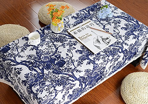 """ChezMax Linen Cotton Fabric Table Cover Blue and White Pattern Rectangle Tablecloth 55"""" x 86.6"""" with Lace"""