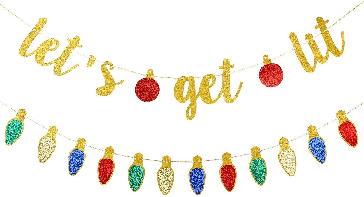 Gold Glittery Let's Get Lit Banner and Glittery Christmas Garland Decor- Christmas Holiday Party Decorations,New Years Eve Party Decor,Grinch Christmas Decorations,Ugly Christmas Sweater Party Decorations,Christmas Mantel Home Decor