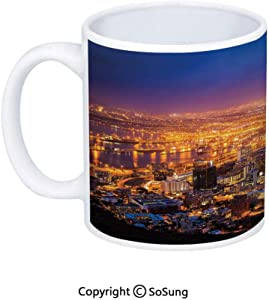 City Coffee Mug,Cape Town Panorama at Dawn South Africa Coastline Roads Architecture Twilight,Printed Ceramic Coffee Cup Water Tea Drinks Cup,Marigold Blue Pink