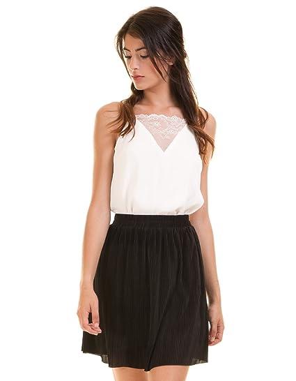 ICHI Falda Negra Plisada Sedosa. (XL - Negro): Amazon.es: Ropa y ...
