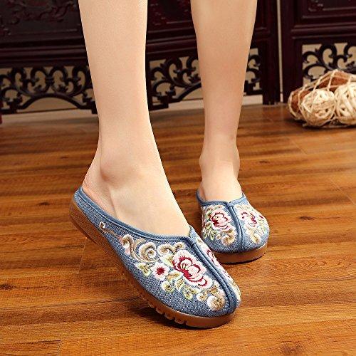 femminile ricamate Blue comodi unico tendine DESY stile etnico scarpe casuali sandali infradito moda wnWp1TYxq5