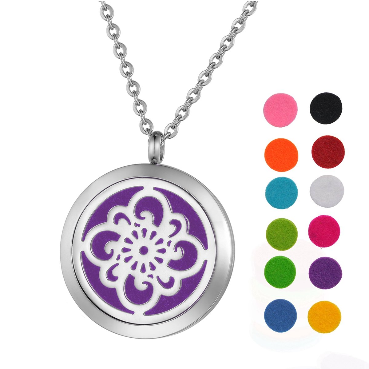 Aromatherapy Essential Oil Diffuser Necklace Stainless Steel Flower Pendant Locket with 12 Refill Pads Silver Tone Supreme glory SGto-B268795