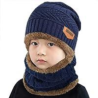 heekpek Niños Sombrero Caliente de Punto y Bufanda tubular con Forro de Lana, para Niños y Niñas Conjunto de Bufanda…