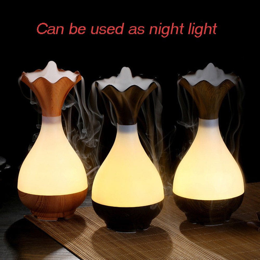 Essential Oil Diffuser Mini Humidifier - Azmall Humidifier Vase Shaped Ultrasonic Humidifier Wood Grain Air Purifier Aroma Essential Oil Atomizer Warm White Led Light Mist Maker DARK WOOD by Azmall (Image #3)