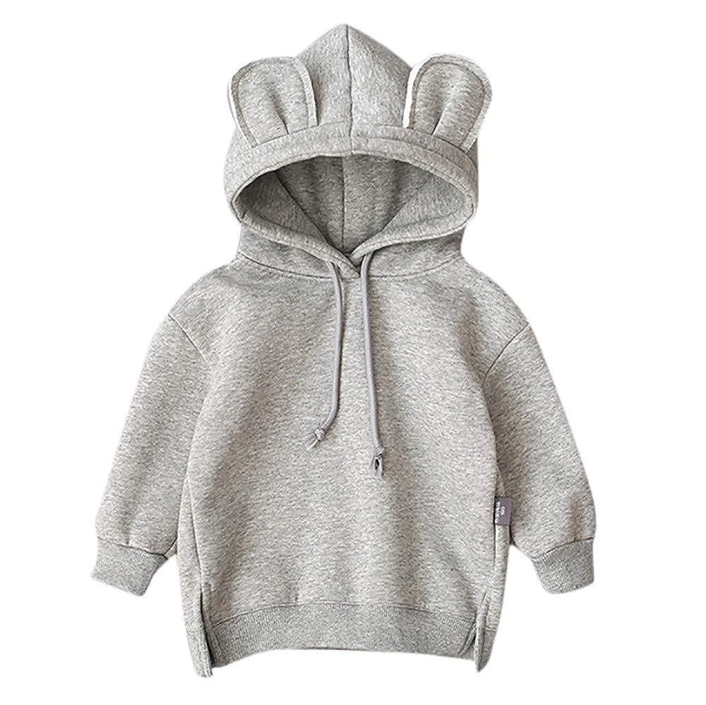 Sweat A Capuche pour Enfant B/éB/é Garcon Fille 0-3 Ans Sweatshirt Sweat-Shirt Hooded Hoodie Pullover Chemise Chemisier Veste Couleur Unie Chic Top Oreille V/êTements