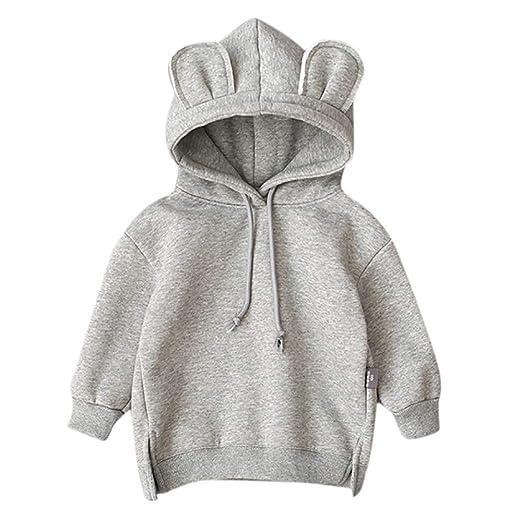 5a745b02f7d5 Amazon.com  Baby Rabbit Ear Hooed Sweatshirt for Boys Girls Infants ...