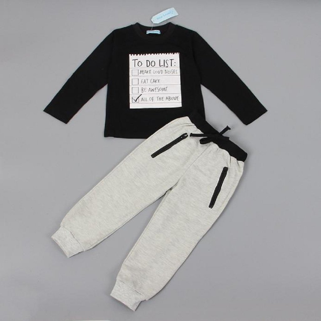 Gray Trousers OverDose Boys 2PCS Outfit Sports Black Tops