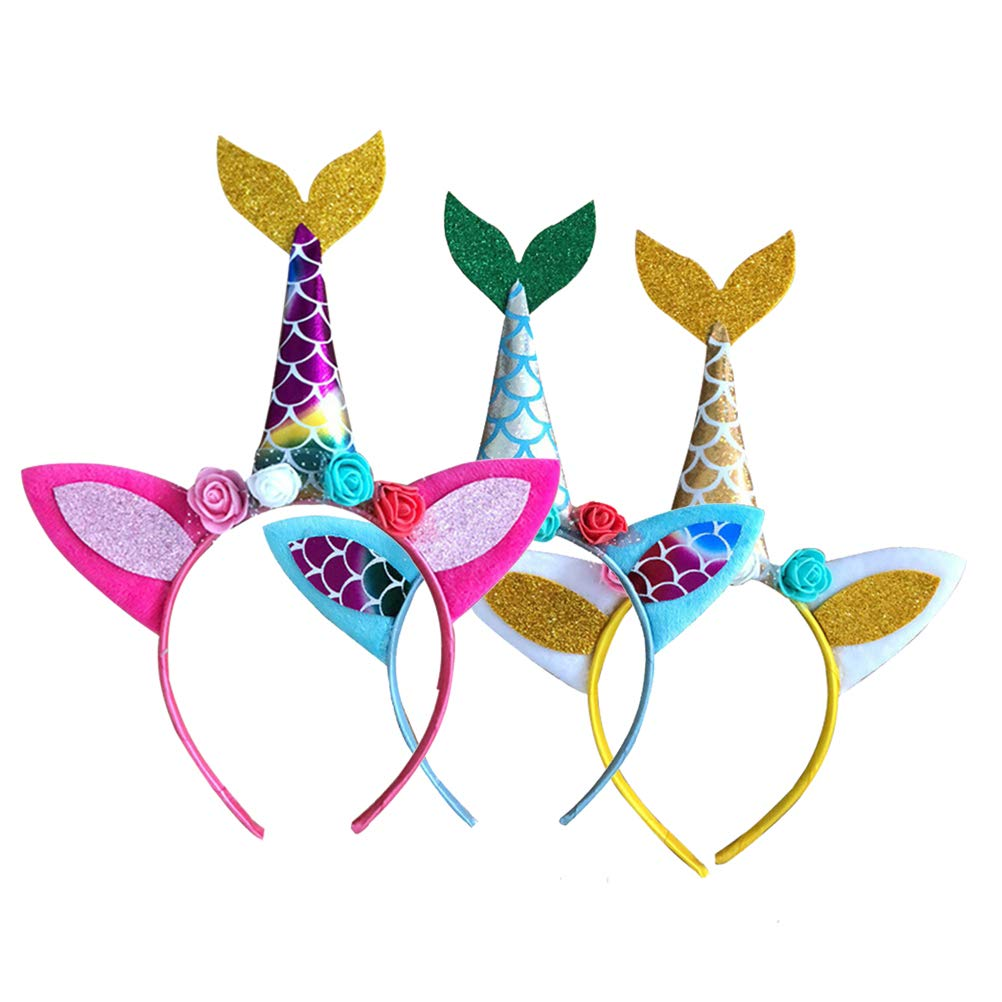 Amosfun 3pcs Glitter Unicorn Mermaid Tail Cat Ears Diadema Tiara Hairband con Flores Traje de Sirena Sirena tem/ática Fiesta de cumplea/ños de Favors Regalos Rojo // Amarillo // Azul